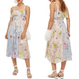 TOPSHOP Pastel Pleated Floral Midi Dress